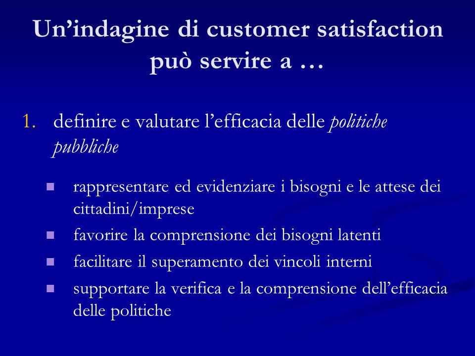 Un'indagine di customer satisfaction può servire a … 1. 1.definire e valutare l'efficacia delle politiche pubbliche rappresentare ed evidenziare i bis