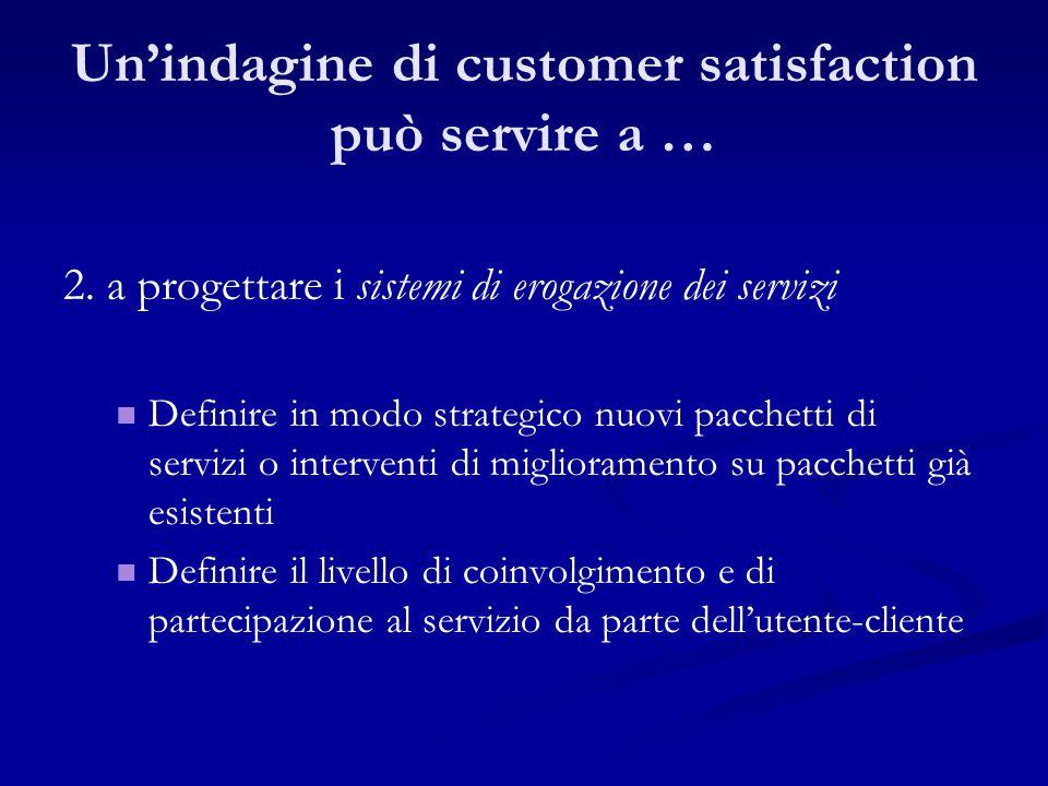 2. a progettare i sistemi di erogazione dei servizi Definire in modo strategico nuovi pacchetti di servizi o interventi di miglioramento su pacchetti
