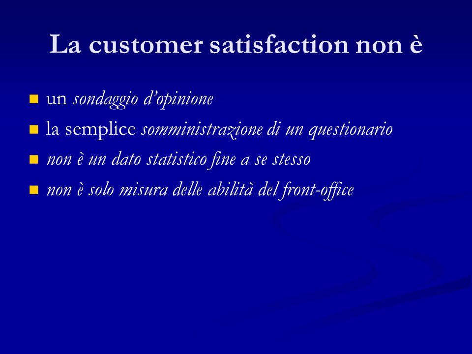 La customer satisfaction non è un sondaggio d'opinione la semplice somministrazione di un questionario non è un dato statistico fine a se stesso non è solo misura delle abilità del front-office