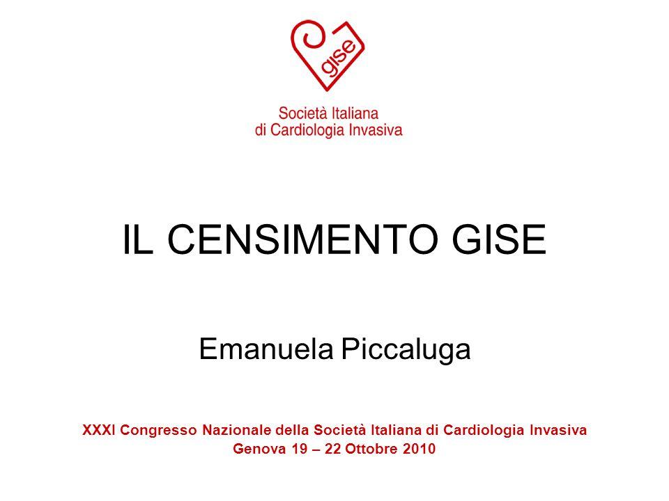 IL CENSIMENTO GISE Emanuela Piccaluga XXXI Congresso Nazionale della Società Italiana di Cardiologia Invasiva Genova 19 – 22 Ottobre 2010