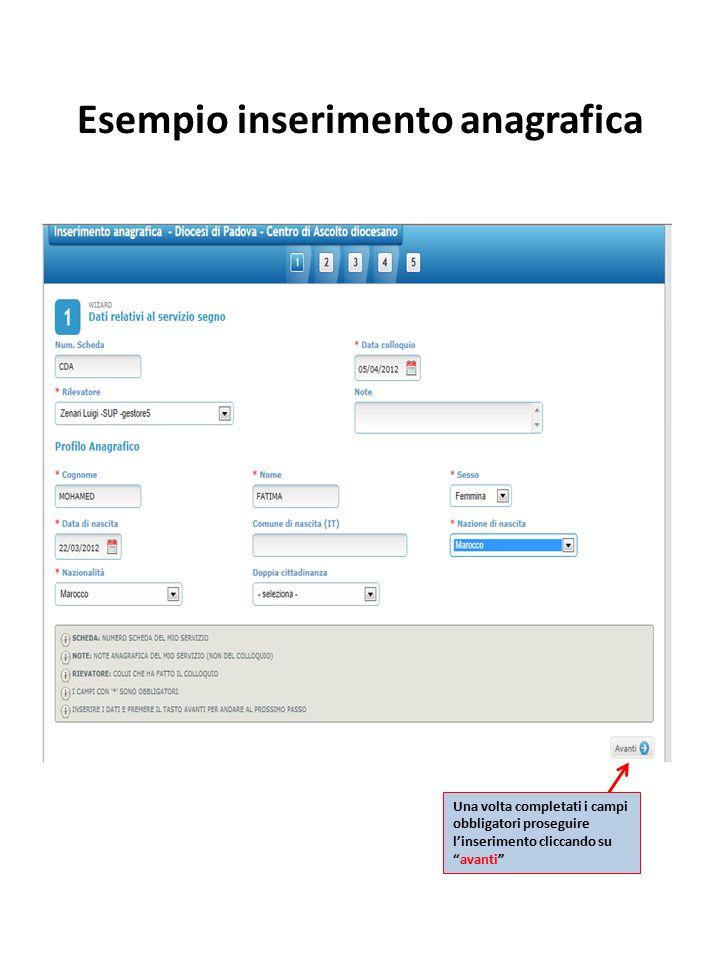 Esempio inserimento anagrafica Una volta completati i campi obbligatori proseguire l'inserimento cliccando su avanti