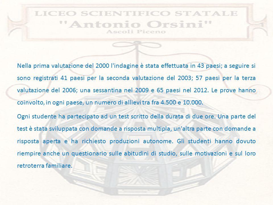 Nel 2012 (anno dell'ultima rilevazione OCSE-PISA), il LICEO SCIENTIFICO ANTONIO ORSINI si è volontariamente sottoposto al test ottenendo risultati STRABILIANTI!!.