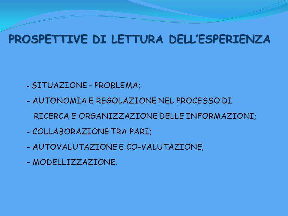 PROSPETTIVE DI LETTURA DELL'ESPERIENZA - SITUAZIONE - PROBLEMA; - AUTONOMIA E REGOLAZIONE NEL PROCESSO DI RICERCA E ORGANIZZAZIONE DELLE INFORMAZIONI; - COLLABORAZIONE TRA PARI; - AUTOVALUTAZIONE E CO-VALUTAZIONE; - MODELLIZZAZIONE.