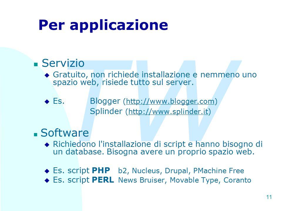 TW 11 Per applicazione Servizio u Gratuito, non richiede installazione e nemmeno uno spazio web, risiede tutto sul server. u Es. Blogger (http://www.b