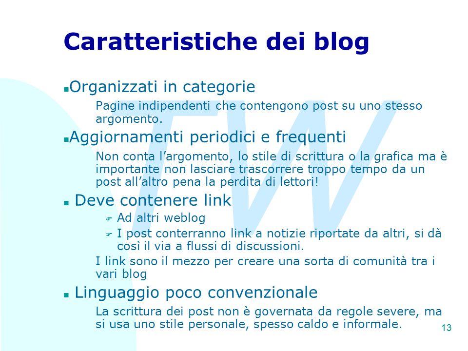TW 13 Caratteristiche dei blog n Organizzati in categorie Pagine indipendenti che contengono post su uno stesso argomento. n Aggiornamenti periodici e