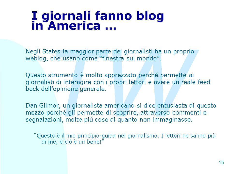 TW 15 I giornali fanno blog in America … Negli States la maggior parte dei giornalisti ha un proprio weblog, che usano come finestra sul mondo .