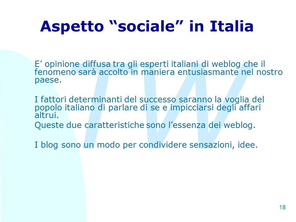 TW 18 Aspetto sociale in Italia E' opinione diffusa tra gli esperti italiani di weblog che il fenomeno sarà accolto in maniera entusiasmante nel nostro paese.