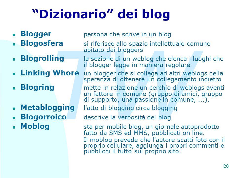 TW 20 Dizionario dei blog n Blogger persona che scrive in un blog n Blogosfera si riferisce allo spazio intellettuale comune abitato dai bloggers n Blogrolling la sezione di un weblog che elenca i luoghi che il blogger legge in maniera regolare n Linking Whore un blogger che si collega ad altri weblogs nella speranza di ottenere un collegamento indietro n Blogring mette in relazione un cerchio di weblogs aventi un fattore in comune (gruppo di amici, gruppo di supporto, una passione in comune,...).