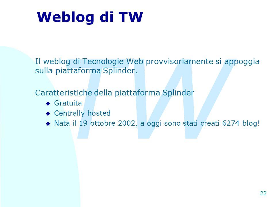 TW 22 Weblog di TW Il weblog di Tecnologie Web provvisoriamente si appoggia sulla piattaforma Splinder. Caratteristiche della piattaforma Splinder u G