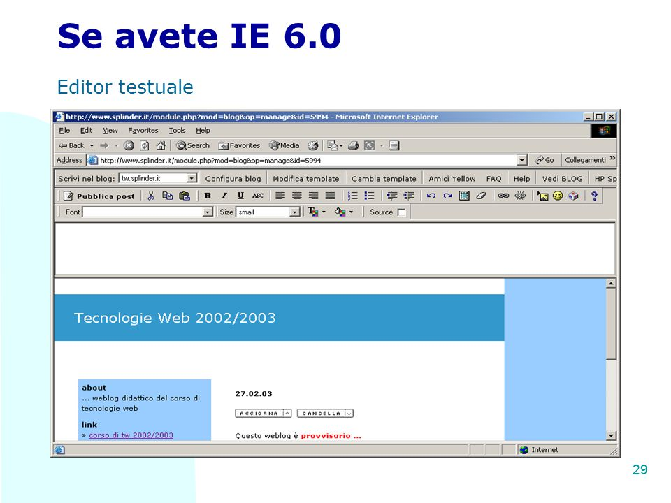 TW 29 Se avete IE 6.0 Editor testuale