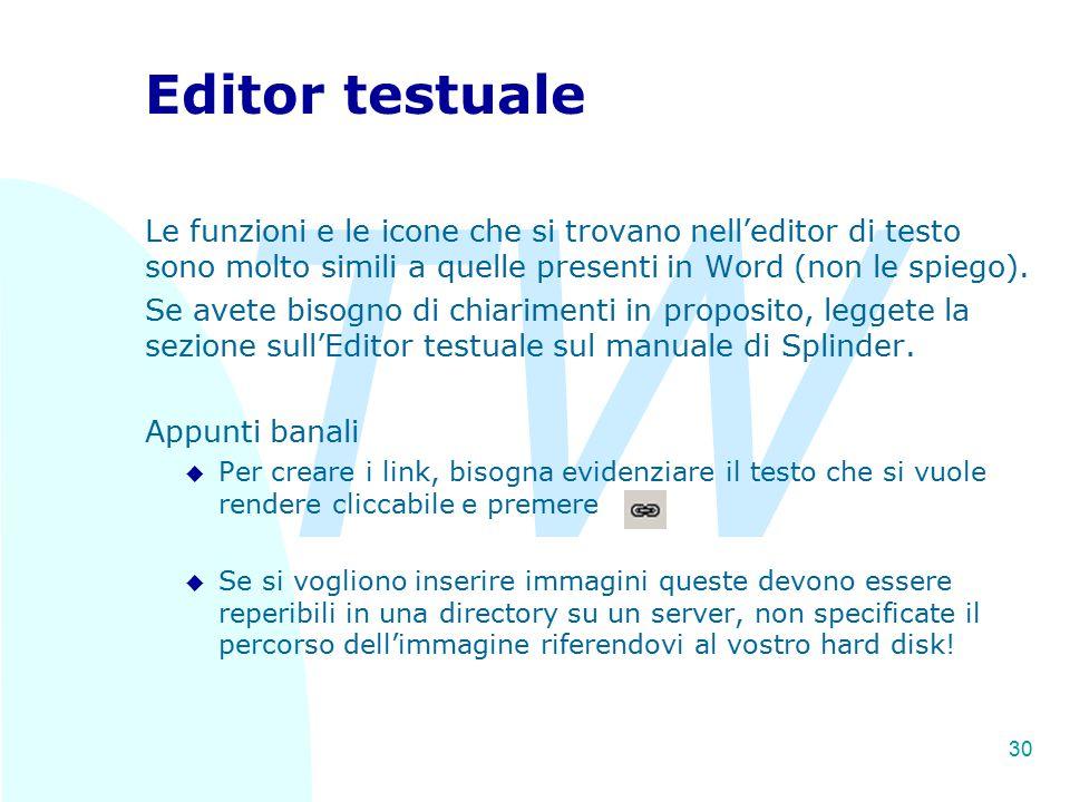 TW 30 Editor testuale Le funzioni e le icone che si trovano nell'editor di testo sono molto simili a quelle presenti in Word (non le spiego).