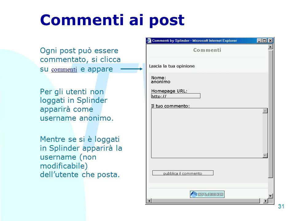 TW 31 Commenti ai post Ogni post può essere commentato, si clicca su commenti e appare Per gli utenti non loggati in Splinder apparirà come username a