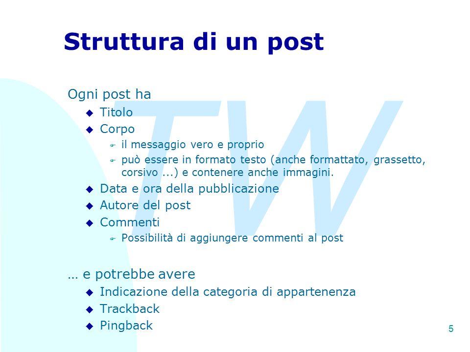 TW 5 Struttura di un post Ogni post ha u Titolo u Corpo F il messaggio vero e proprio F può essere in formato testo (anche formattato, grassetto, cors