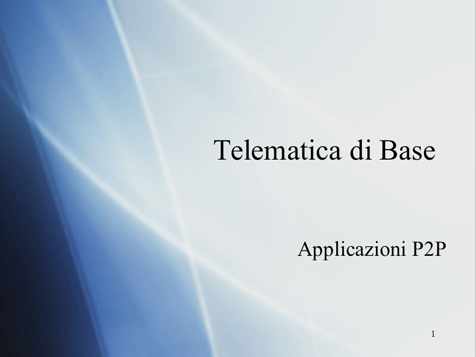 1 Telematica di Base Applicazioni P2P