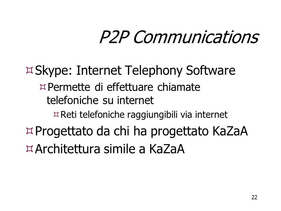 22 P2P Communications  Skype: Internet Telephony Software  Permette di effettuare chiamate telefoniche su internet  Reti telefoniche raggiungibili via internet  Progettato da chi ha progettato KaZaA  Architettura simile a KaZaA  Skype: Internet Telephony Software  Permette di effettuare chiamate telefoniche su internet  Reti telefoniche raggiungibili via internet  Progettato da chi ha progettato KaZaA  Architettura simile a KaZaA