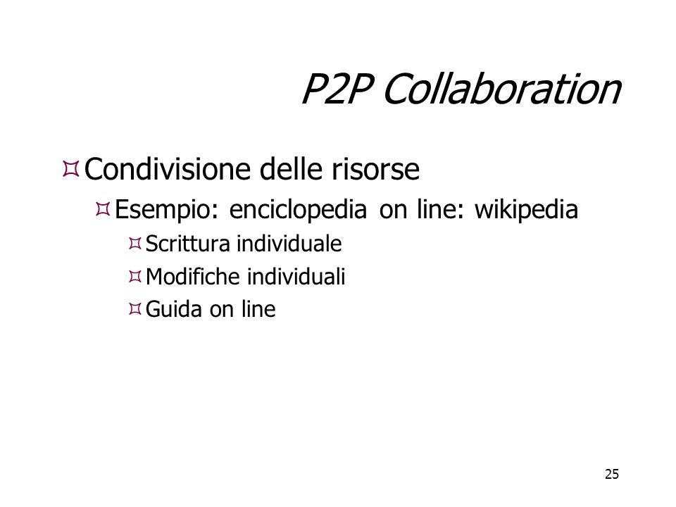 25 P2P Collaboration  Condivisione delle risorse  Esempio: enciclopedia on line: wikipedia  Scrittura individuale  Modifiche individuali  Guida o