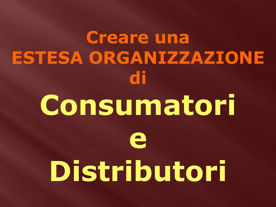 Creare una ESTESA ORGANIZZAZIONE di Consumatori e Distributori