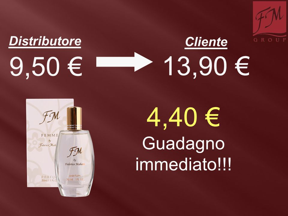 4,40 € Guadagno immediato!!! 13,90 € Distributore Cliente 9,50 €