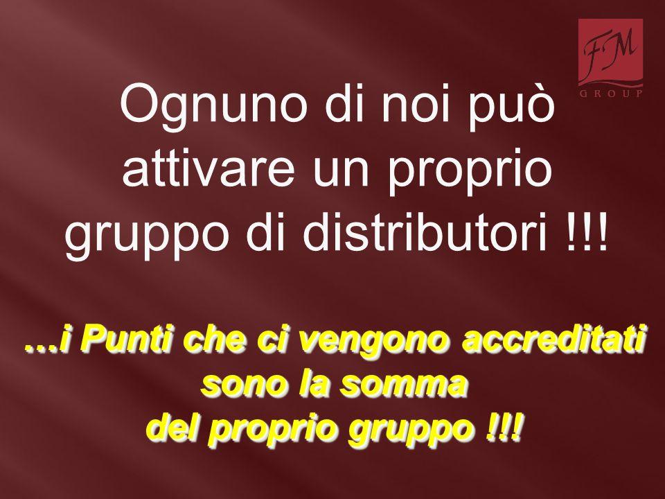 Ognuno di noi può attivare un proprio gruppo di distributori !!! …i Punti che ci vengono accreditati sono la somma del proprio gruppo !!!