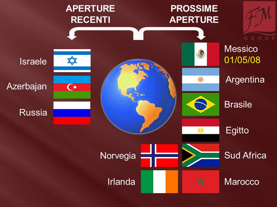 Russia PROSSIME APERTURE APERTURE RECENTI Azerbajan Israele Messico 01/05/08 Egitto Argentina Brasile IrlandaMarocco Sud Africa Norvegia