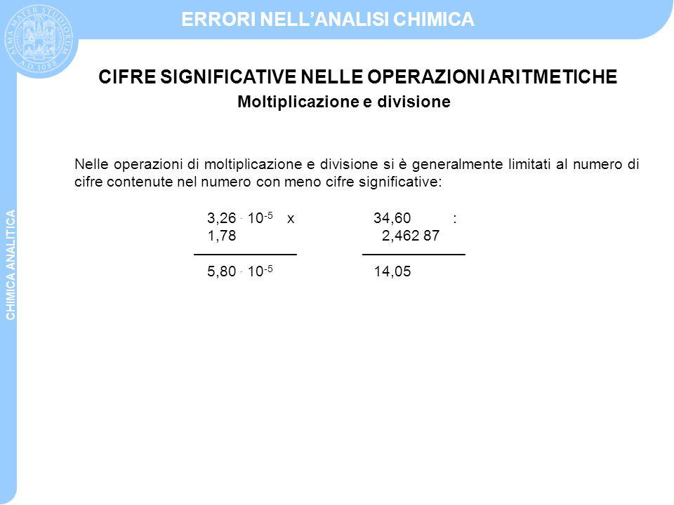 CHIMICA ANALITICA ERRORI NELL'ANALISI CHIMICA Nelle operazioni di moltiplicazione e divisione si è generalmente limitati al numero di cifre contenute