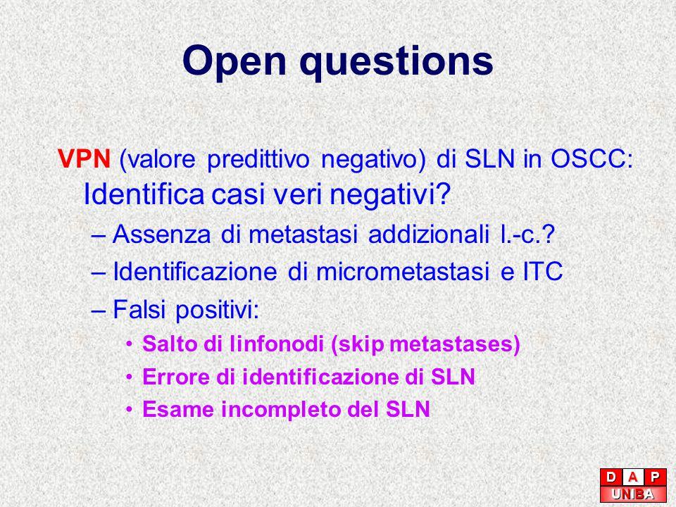 Open questions VPN (valore predittivo negativo) di SLN in OSCC: Identifica casi veri negativi? –Assenza di metastasi addizionali l.-c.? –Identificazio