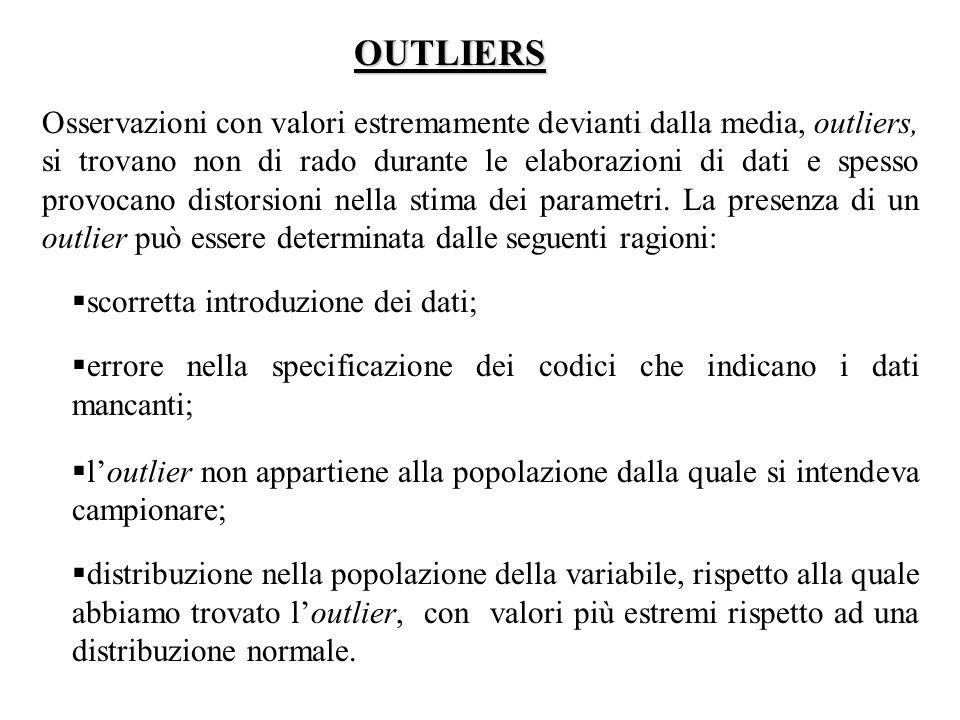 OUTLIERS Osservazioni con valori estremamente devianti dalla media, outliers, si trovano non di rado durante le elaborazioni di dati e spesso provocano distorsioni nella stima dei parametri.