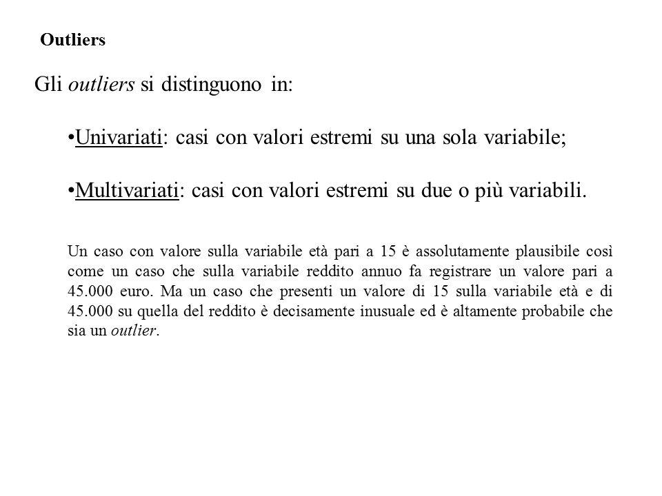 Gli outliers si distinguono in: Univariati: casi con valori estremi su una sola variabile; Multivariati: casi con valori estremi su due o più variabili.