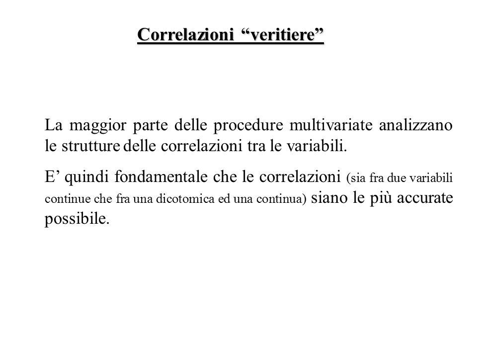La maggior parte delle procedure multivariate analizzano le strutture delle correlazioni tra le variabili.
