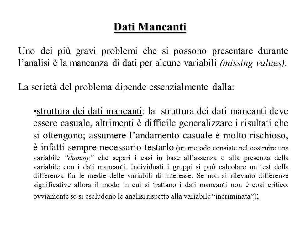 Dati Mancanti Uno dei più gravi problemi che si possono presentare durante l'analisi è la mancanza di dati per alcune variabili (missing values).