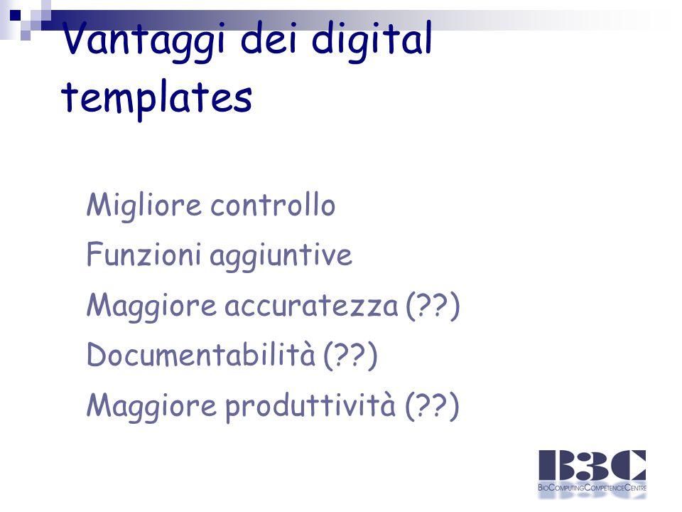 Vantaggi dei digital templates Migliore controllo Funzioni aggiuntive Maggiore accuratezza (??) Documentabilità (??) Maggiore produttività (??)