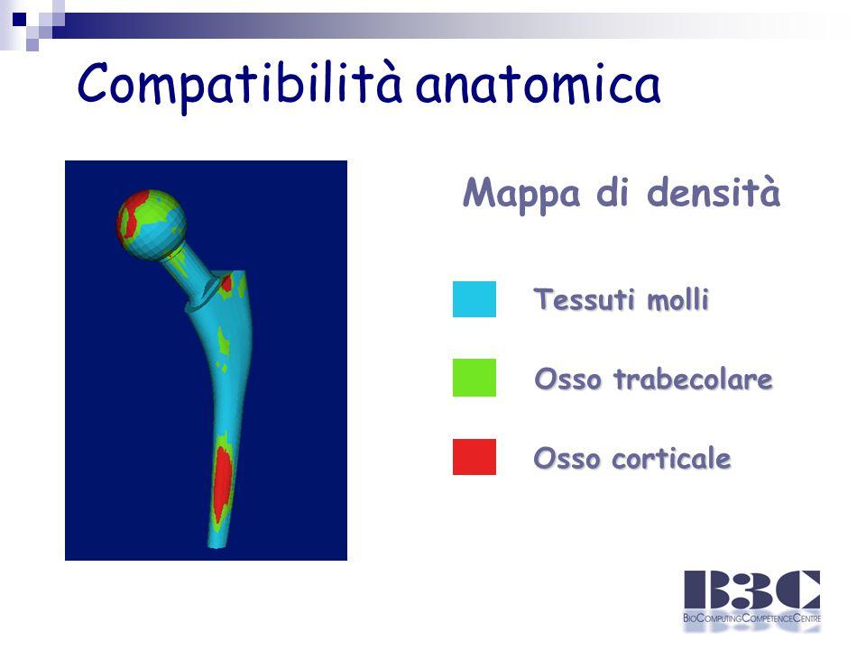 Compatibilità anatomica Tessuti molli Osso trabecolare Osso corticale Mappa di densità
