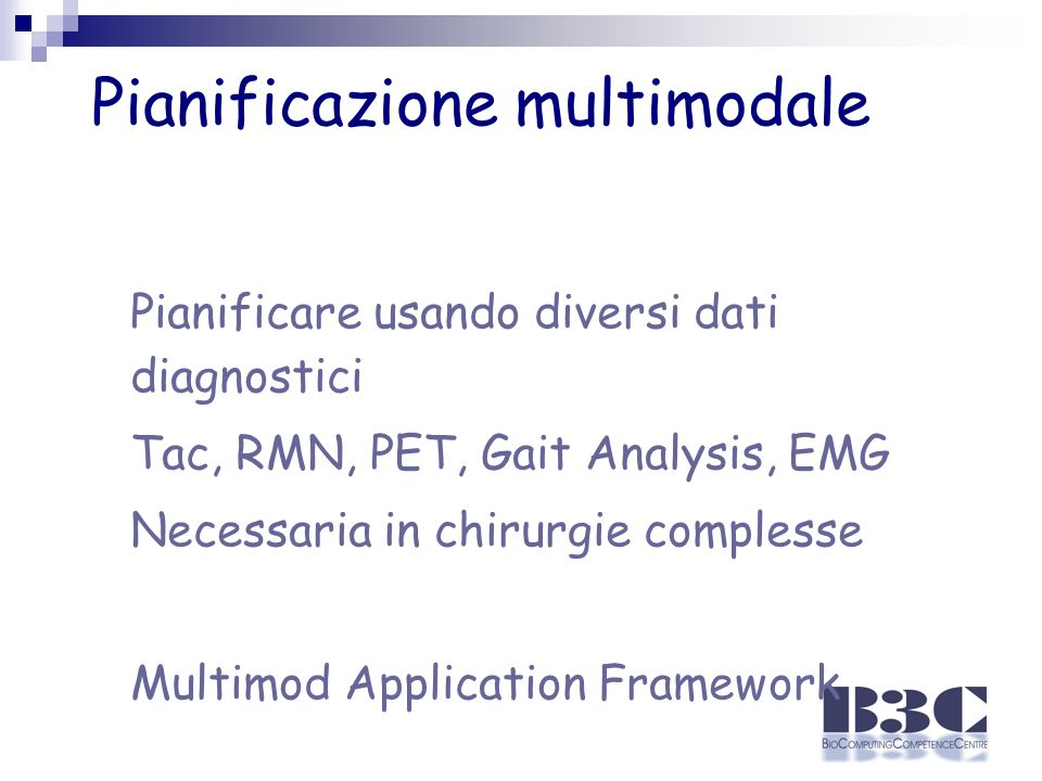 Pianificazione multimodale Pianificare usando diversi dati diagnostici Tac, RMN, PET, Gait Analysis, EMG Necessaria in chirurgie complesse Multimod Application Framework
