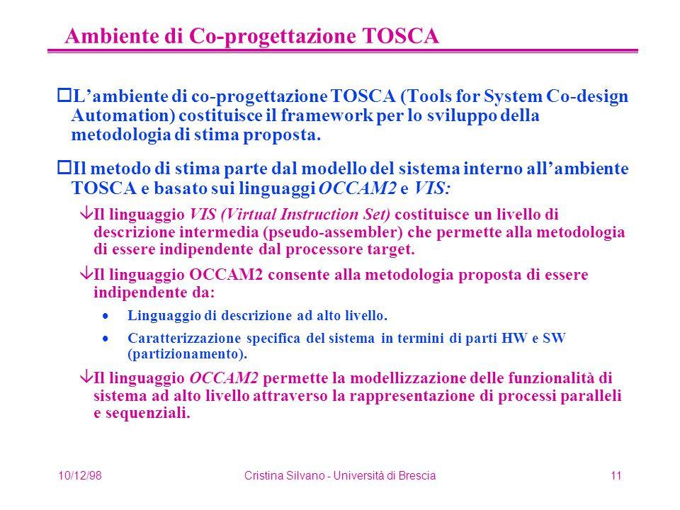 10/12/98Cristina Silvano - Università di Brescia11 Ambiente di Co-progettazione TOSCA oL'ambiente di co-progettazione TOSCA (Tools for System Co-design Automation) costituisce il framework per lo sviluppo della metodologia di stima proposta.