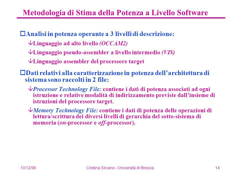 10/12/98Cristina Silvano - Università di Brescia14 Metodologia di Stima della Potenza a Livello Software oAnalisi in potenza operante a 3 livelli di descrizione: âLinguaggio ad alto livello (OCCAM2) âLinguaggio pseudo-assembler a livello intermedio (VIS) âLinguaggio assembler del processore target oDati relativi alla caratterizzazione in potenza dell'architettura di sistema sono raccolti in 2 file: âProcessor Technology File: contiene i dati di potenza associati ad ogni istruzione e relative modalità di indirizzamento previste dall'insieme di istruzioni del processore target.