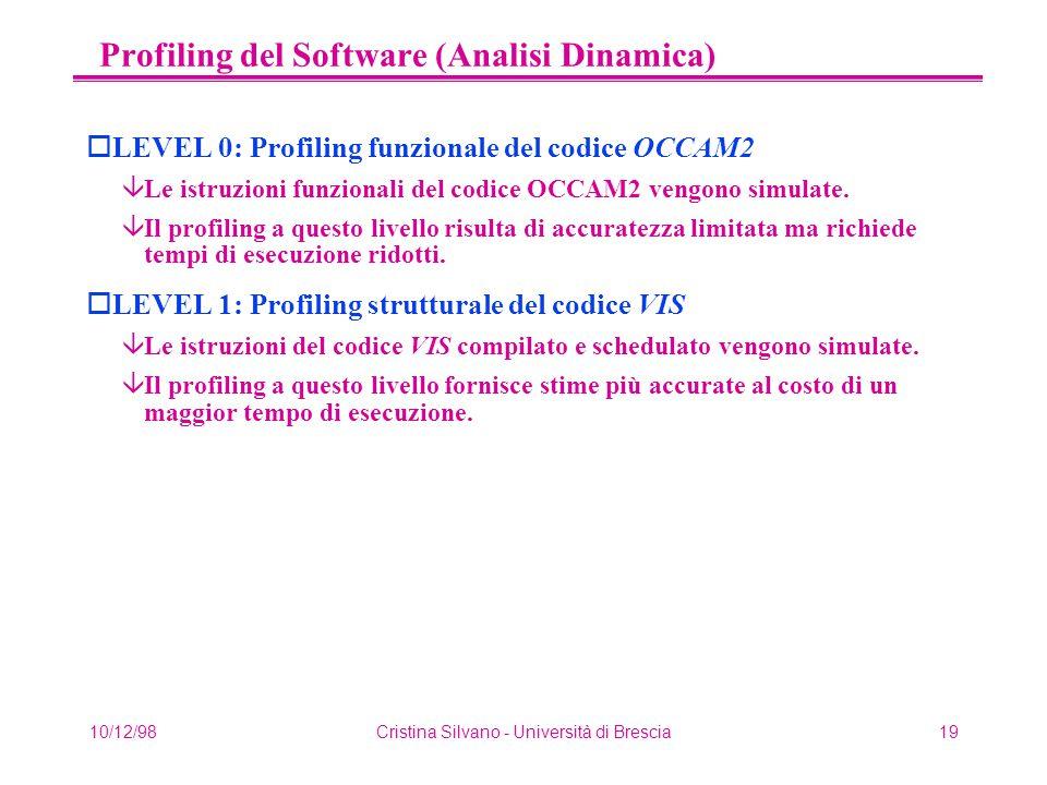 10/12/98Cristina Silvano - Università di Brescia19 Profiling del Software (Analisi Dinamica) oLEVEL 0: Profiling funzionale del codice OCCAM2 âLe istruzioni funzionali del codice OCCAM2 vengono simulate.