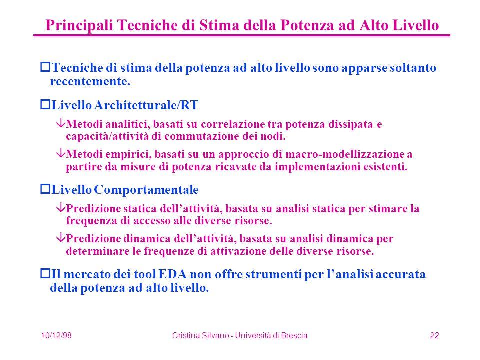 10/12/98Cristina Silvano - Università di Brescia22 Principali Tecniche di Stima della Potenza ad Alto Livello oTecniche di stima della potenza ad alto livello sono apparse soltanto recentemente.