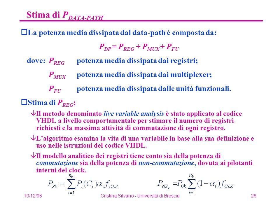 10/12/98Cristina Silvano - Università di Brescia26 Stima di P DATA-PATH oLa potenza media dissipata dal data-path è composta da: P DP = P REG + P MUX + P FU dove: P REG potenza media dissipata dai registri; P MUX potenza media dissipata dai multiplexer; P FU potenza media dissipata dalle unità funzionali.