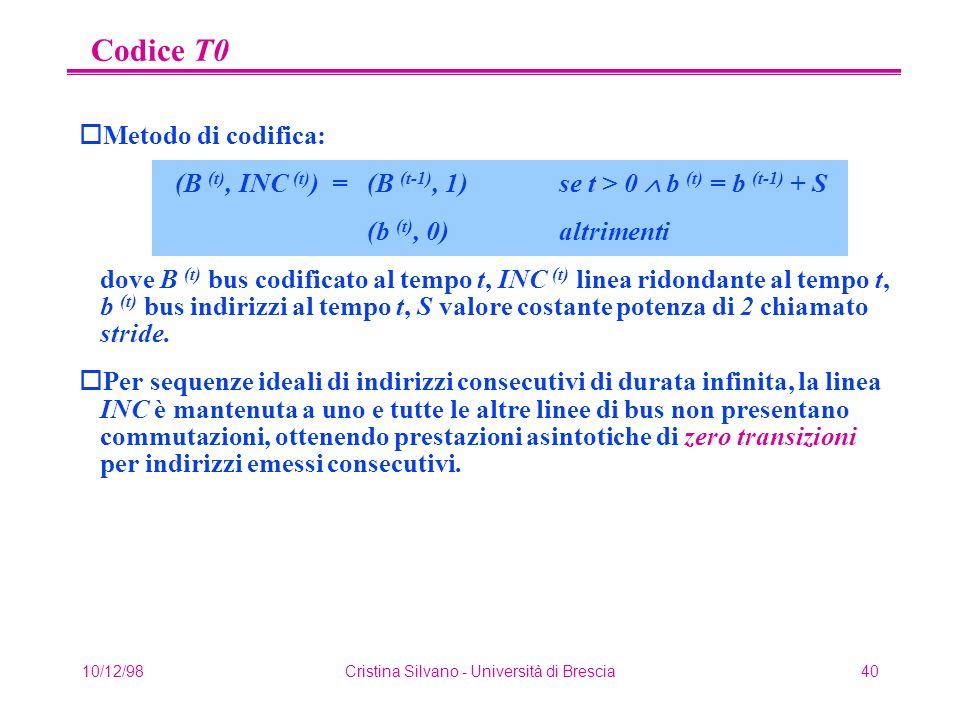 10/12/98Cristina Silvano - Università di Brescia40 Codice T0 oMetodo di codifica: (B (t), INC (t) ) = (B (t-1), 1)se t > 0  b (t) = b (t-1) + S (b (t), 0) altrimenti dove B (t) bus codificato al tempo t, INC (t) linea ridondante al tempo t, b (t) bus indirizzi al tempo t, S valore costante potenza di 2 chiamato stride.