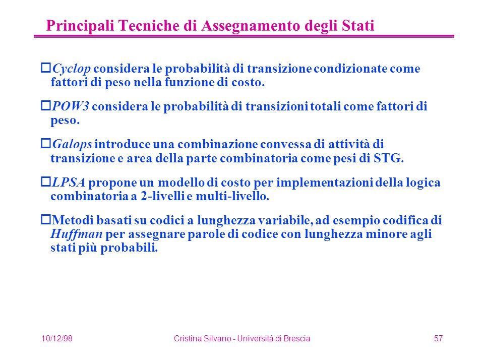10/12/98Cristina Silvano - Università di Brescia57 Principali Tecniche di Assegnamento degli Stati oCyclop considera le probabilità di transizione condizionate come fattori di peso nella funzione di costo.