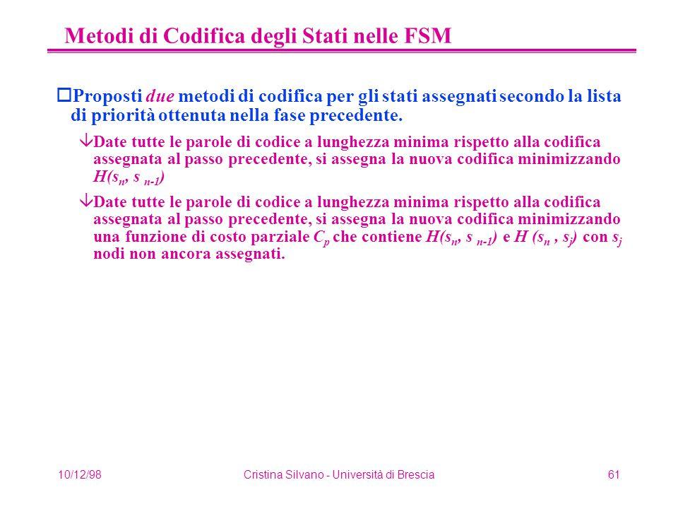 10/12/98Cristina Silvano - Università di Brescia61 Metodi di Codifica degli Stati nelle FSM oProposti due metodi di codifica per gli stati assegnati secondo la lista di priorità ottenuta nella fase precedente.