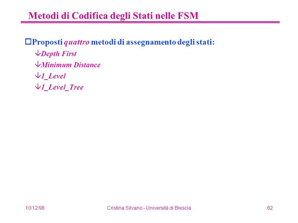 10/12/98Cristina Silvano - Università di Brescia62 Metodi di Codifica degli Stati nelle FSM oProposti quattro metodi di assegnamento degli stati: âDepth First âMinimum Distance â1_Level â1_Level_Tree