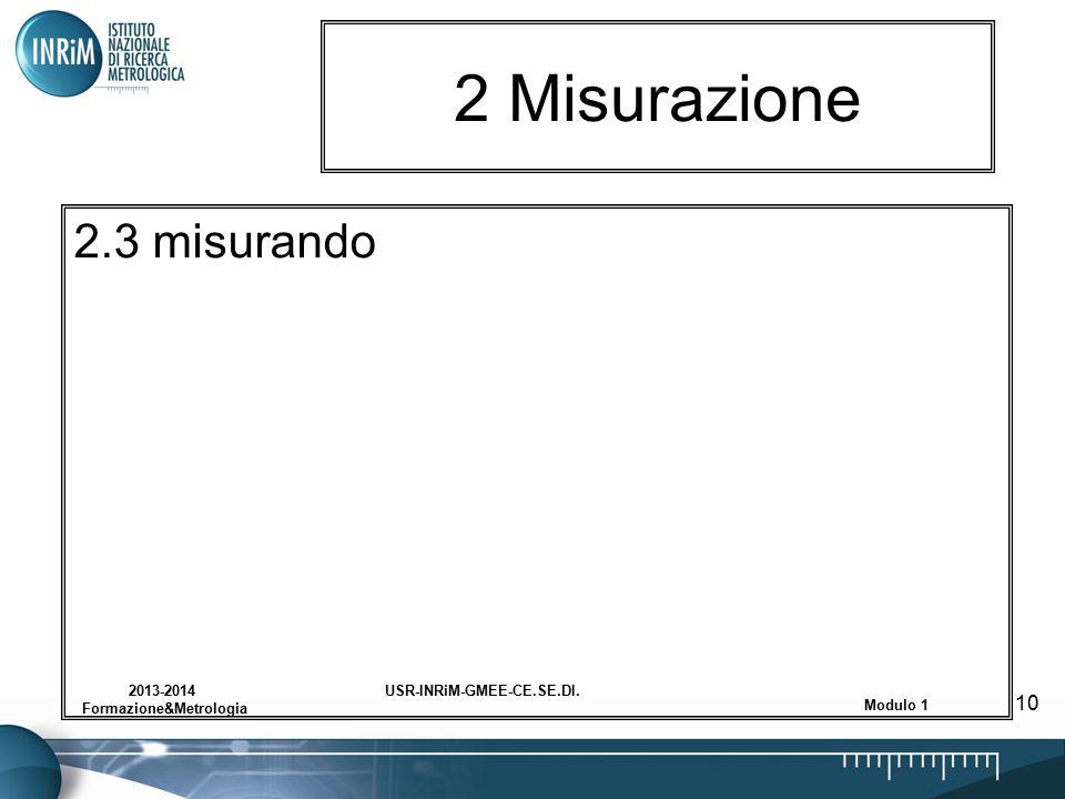 USR-INRiM-GMEE-CE.SE.DI.2013-2014 Formazione&Metrologia Modulo 1 10 2 Misurazione 2.3 misurando