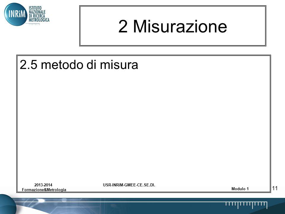 USR-INRiM-GMEE-CE.SE.DI.2013-2014 Formazione&Metrologia Modulo 1 11 2 Misurazione 2.5 metodo di misura