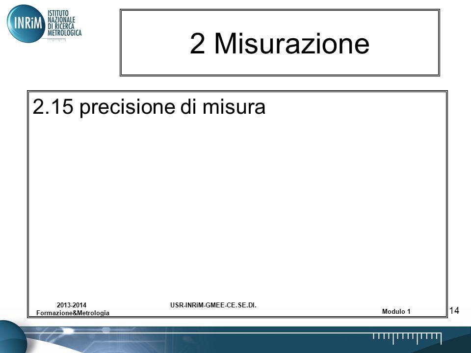 USR-INRiM-GMEE-CE.SE.DI.2013-2014 Formazione&Metrologia Modulo 1 14 2 Misurazione 2.15 precisione di misura