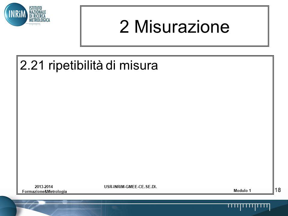 USR-INRiM-GMEE-CE.SE.DI.2013-2014 Formazione&Metrologia Modulo 1 18 2 Misurazione 2.21 ripetibilità di misura
