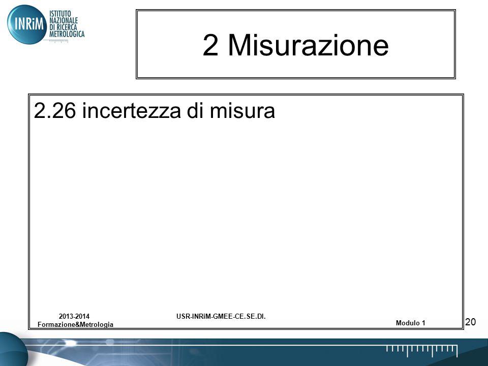 USR-INRiM-GMEE-CE.SE.DI.2013-2014 Formazione&Metrologia Modulo 1 20 2 Misurazione 2.26 incertezza di misura
