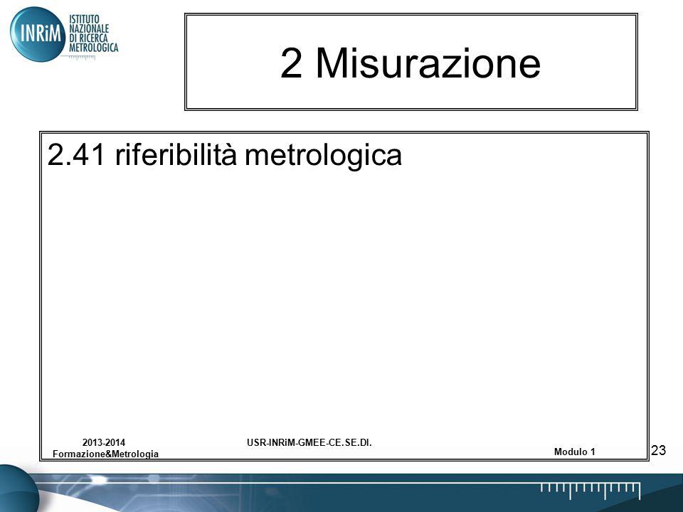 USR-INRiM-GMEE-CE.SE.DI.2013-2014 Formazione&Metrologia Modulo 1 23 2 Misurazione 2.41 riferibilità metrologica