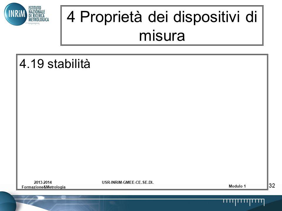 USR-INRiM-GMEE-CE.SE.DI.2013-2014 Formazione&Metrologia Modulo 1 32 4 Proprietà dei dispositivi di misura 4.19 stabilità