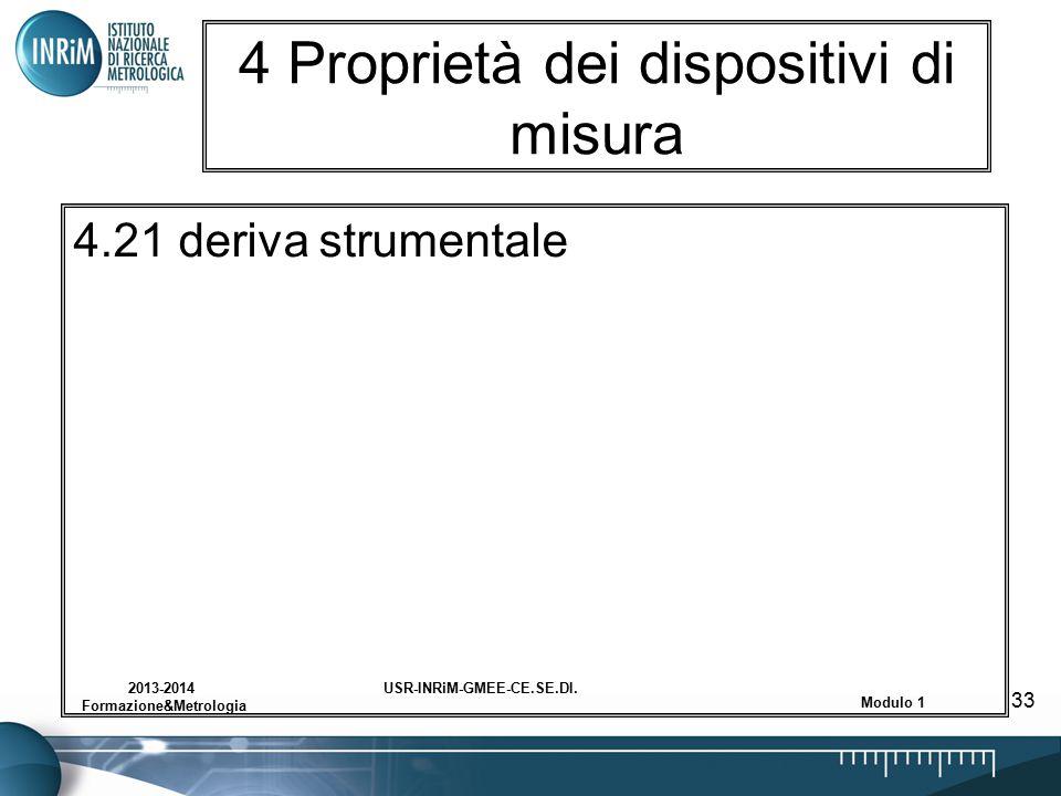 USR-INRiM-GMEE-CE.SE.DI.2013-2014 Formazione&Metrologia Modulo 1 33 4 Proprietà dei dispositivi di misura 4.21 deriva strumentale